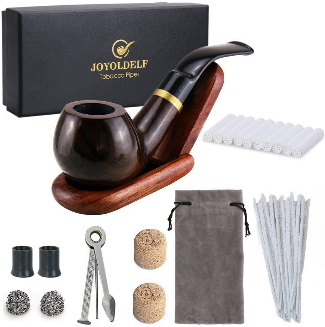 Joyoldelf Wooden Tobacco Smoking Pipe Set - Smoking Pipe with Wood Stand Holder, Smoking Accessories, Bonus a Pipe Pouch & Gift Box