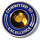 TCDesignerProducts Gold Rhinestone Committed to Excellence Appreciation Award Lapel Pins, 6 Pins