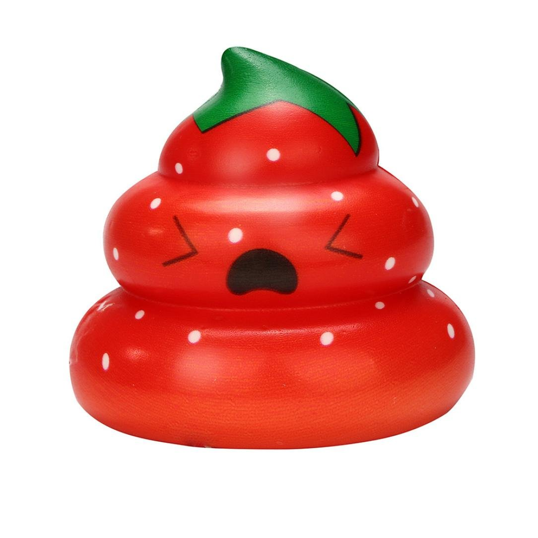 callm Slow Rising Squishies Yummy Fruit Poo Kawaii Mini Squishies Cream Scented Charms Stress Reliever Toys for Kids and Adults (red)