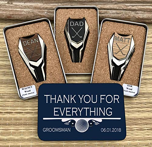 WOODULIKE Groomsmen Gift Golf Ball Marker and Divot Tools Personalized Groomsman Best Man Gifts