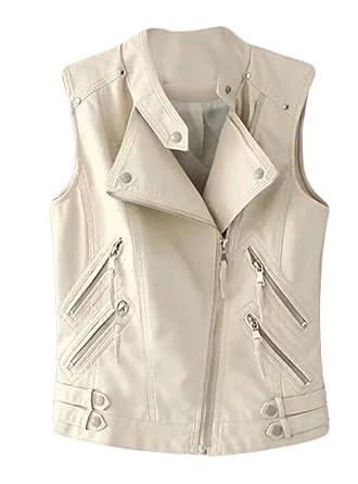 6de075b69058 UUYUK-Women Vogue Oblique Zipper Faux-Leather Sleeveless Motorcycle Vest at Amazon  Women's Coats Shop
