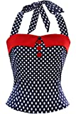Women Vintage 1950s Party Top Polka Dots Rockabilly 40s Cotton Shirts