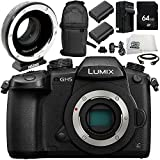Panasonic Lumix DC-GH5 Digital Camera with Metabones MB_SPEF-M43-BT3 Speed Booster XL 0.64x Adapter 9PC Accessory Bundle – Includes 64GB SD Memory Card + MORE - International Version (No Warranty)