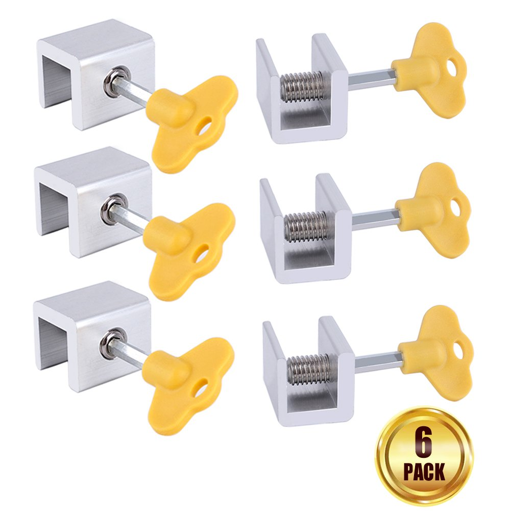 Sliding Window Locks,MUTOCAR 6 pcs Adjustable Aluminum Alloy Door Frame Security Lock with Keys