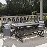 Owenburg Outdoor 6 Piece Grey Aluminum Dining Set with Bench and Grey Wicker Dining Chairs with Silver Water Resistant Cushions For Sale