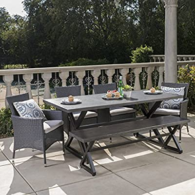Christopher Knight Home 302517 Owenburg Outdoor 6 Piece Dining Set, Grey + Black + Silver - This attractive and comfortable outdoor table set gives you many options for seating, providing both bench and chairs. Complete with a table, bench, and 4 chairs, this set does it all. Made from the highest quality materials and crafted to the most exacting standards, this is the perfect addition to your patio, backyard, or garden. Includes: One (1) Table, One (1) Bench, and Four (4) Dining Chairs - patio-furniture, dining-sets-patio-funiture, patio - 61XNfEomKbL. SS400  -