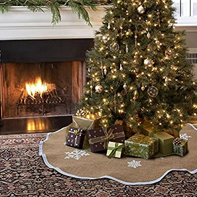 Aytai Christmas Tree Skirt 48 inches Xmas Burlap Tree Skirts White Snowflake Printed Christmas Decorations Indoor Outdoor