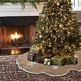 "Aytai Vintage Christmas Tree Skirt 48"" Natural Jute Burlap White Snowflake Printed Tree Skirt Christmas Decorations Indoor Outdoor"