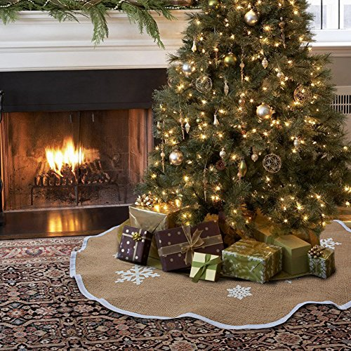 Aytai Christmas Tree Skirt 48 Inch Burlap Tree Skirt White Snowflake Printed Christmas Decorations Indoor Outdoor Burlap On Christmas Tree