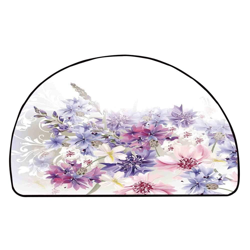 C COABALLA Lavender Comfortable Semicircle Mat,Pastel Cornflowers Bridal Classic Design Gentle Floral Wedding Decor Print for Living Room,11.8'' H x 23.6'' L