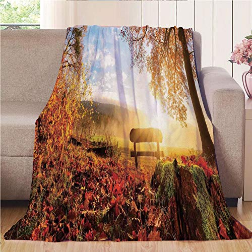 Bench Brookstone - Blanket Comfort Warmth Soft Cozy Air Conditioning Fleece Blanket Perfect for Couch Sofa Or Bed,Farm House Decor,Autumn Landscape with the Sun Warmly Illumining a Bench Under A Tree Scene,Orange Red Bl