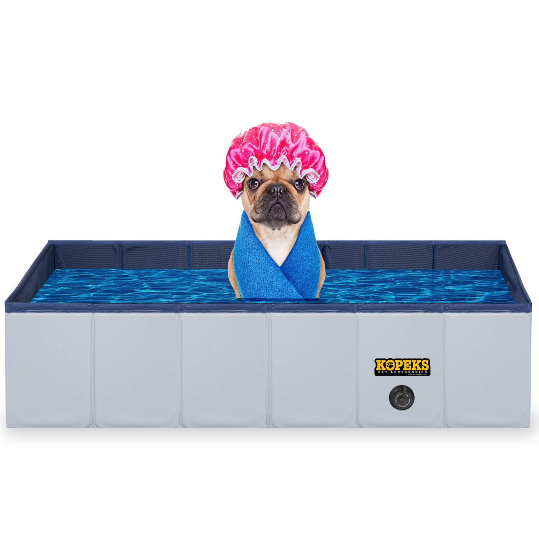 KOPEKS Outdoor Rectangular Swimming Pool Bathing Tub - Portable Foldable - Large - 43'' x 27'' - Grey