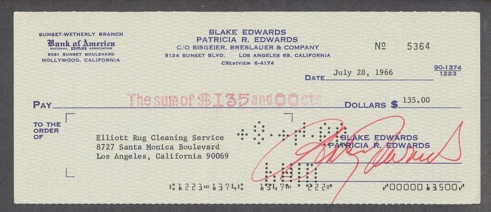 Blake Edwards Certified Autographed Processed Check Autographed *5364 Certified Certified