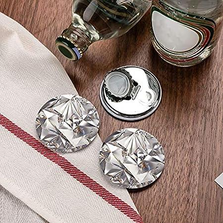 Abridores de botellas redondos con patrón de cristal de diamante abstracto brillante / Imanes de nevera Sacacorchos de acero inoxidable Etiqueta magnética 2 piezas