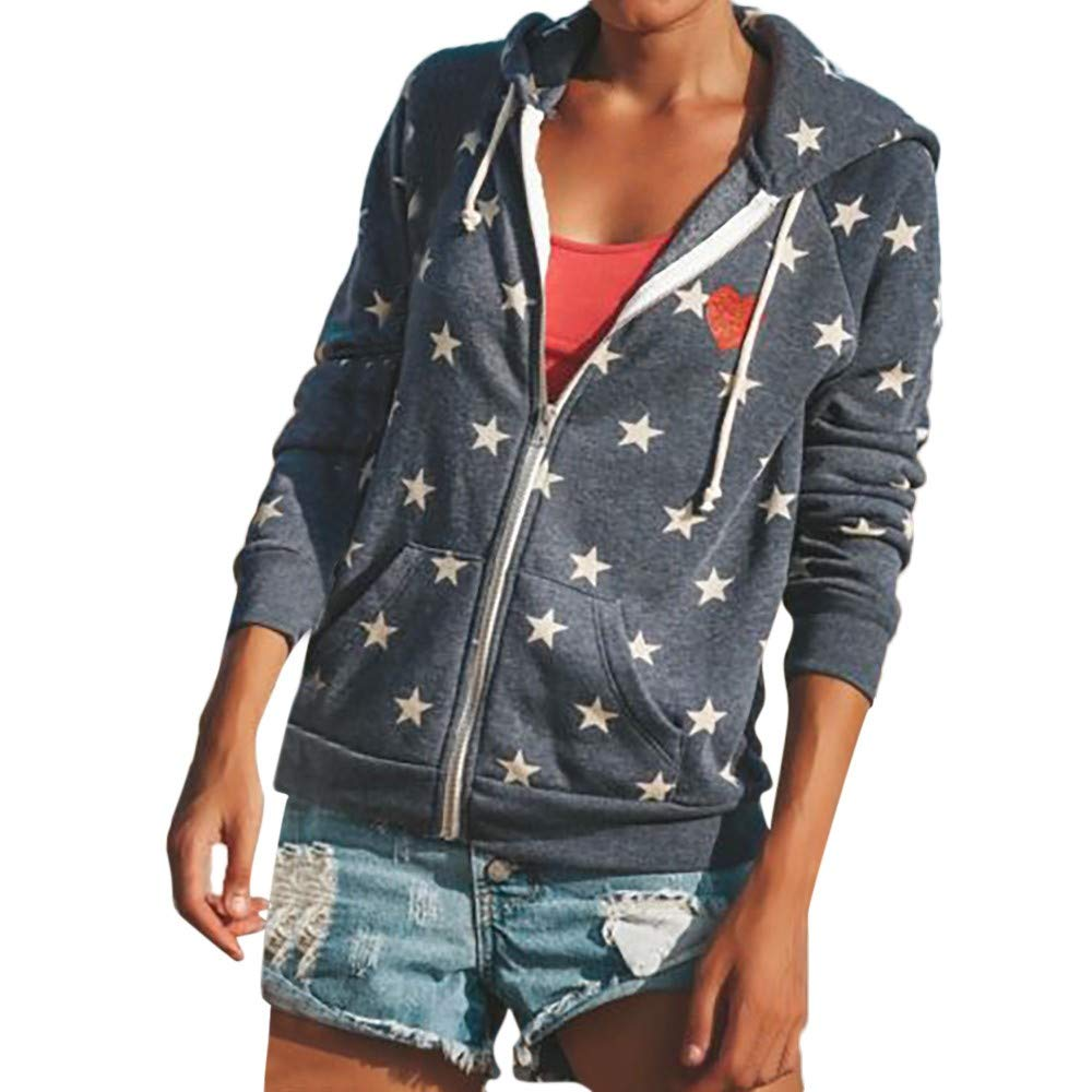 YANG-YI Clearance Women Zipper Tops Hoodie Hooded Sweatshirt Coat Jacket Casual Star Jumper