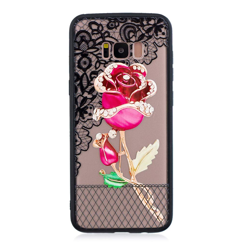 Abtory Galaxy S8 Case for Girls, [Full-Body 360 Coverage Protective] Floral Printed Design Hard Plastic and TPU Gel Bumper Protective Cover Slim Case for Samsung Galaxy S8 Rose