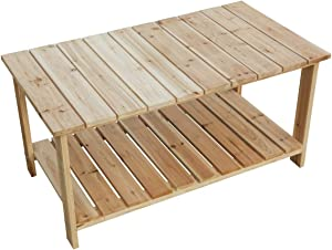 LOKATSE HOME Outdoor Coffee Table Natural Wood Patio Furniture with 2-Shelf Storage Organizer