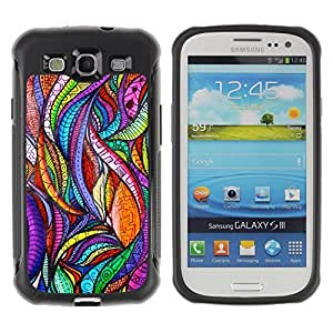 KROKK CASE Samsung Galaxy S3 I9300 - abstract leaves nature art glass floral - Rugged Armor Slim Protection Case Cover Shell