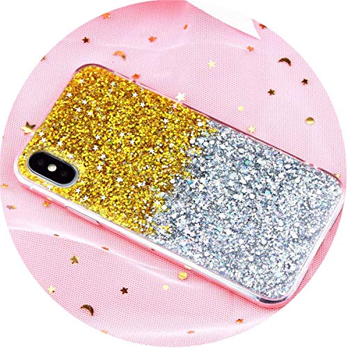 (Private space Case for iPhone 6 6S Case Silicon Bling Glitter Crystal Sequins Soft Cover s for iPhone 5SE 5S 7 8 Plus X XR XS Max,Gradient Gold,i8)