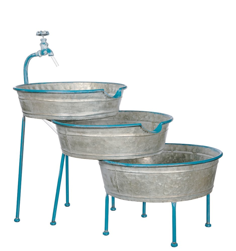 "Sullivans 27"" Galvanized Metal 3 Bucket Cascading Fountain - Galvanized metal bucket cascading fountain Features a 110v submersible pump and suction cups for discreetly holding pump in place Entire piece measures 25.5""L x16.5""W x27""H; Buckets measure 15.5""W x 4""H - patio, outdoor-decor, fountains - 61XNgfNN1hL -"