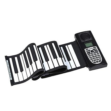 Gimitunus Rollo de Mano Plegable de Silicona para Piano, Plegable 61 Teclas Flexible Soft Electric