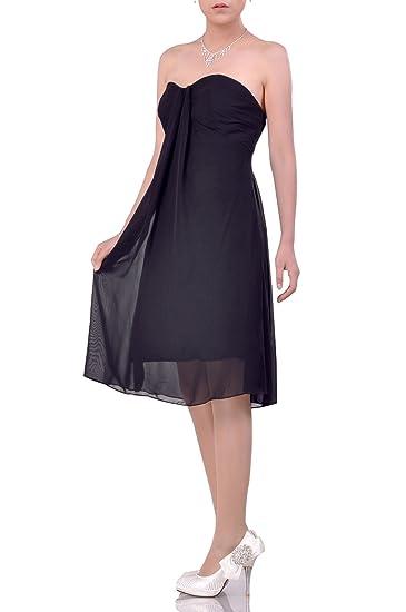 e8f96ef30d39 Chiffon Strapless Knee Length A-line Night Out & Cocktail Modest Bridesmaid  Dress - Black