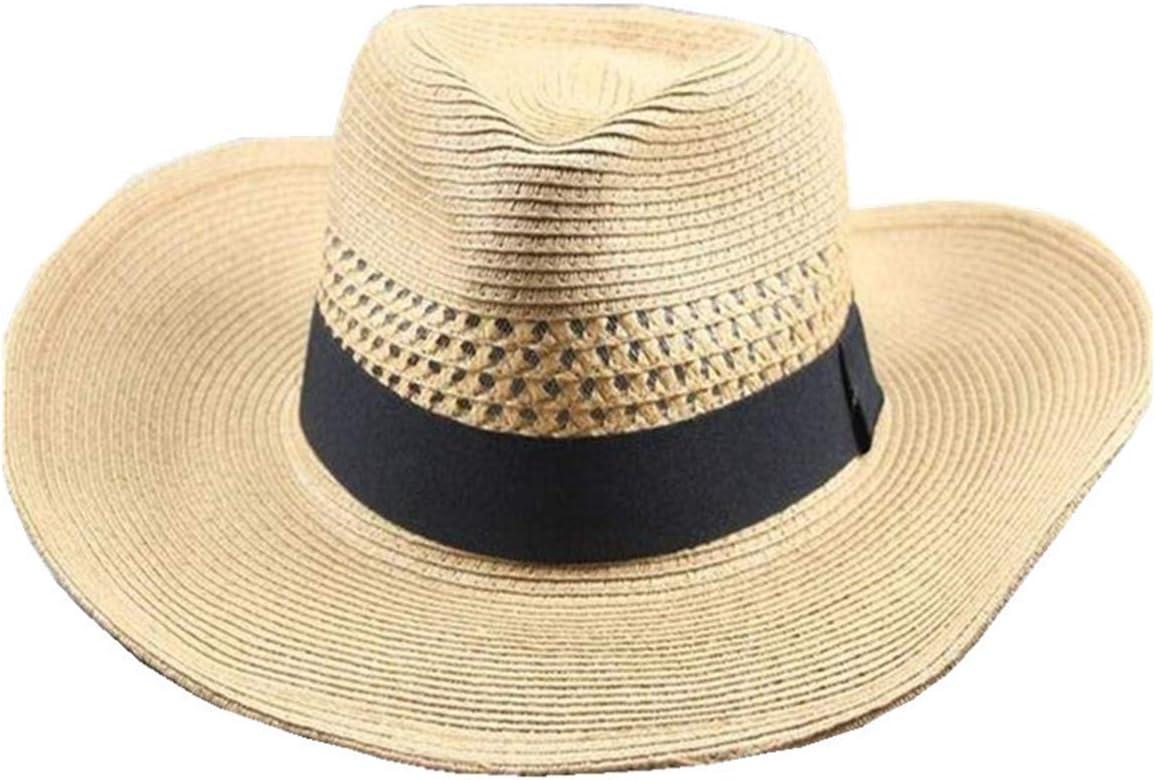Big Brim Summer Outdoor Sports Sombrero Fresco Sombrero de Paja para Hombre Circunferencia de la Cabeza Grande Transpirable Sombrero para el Sol Plegable,Marrón,M