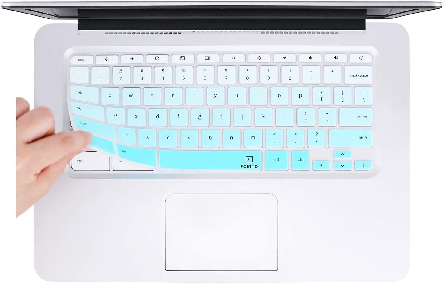 FORITO Keyboard Cover Compatible with HP Chromebook 14 inch/HP Chromebook 14 G2 G3 G4 Series 14 inch/HP Chromebook 14-ak 14-ca 14-db Series 14 inch -Ombre Hot Blue