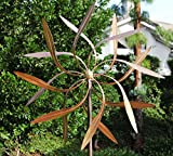 (US) Stanwood Wind Sculpture: Large Kinetic Copper Dual Spinner - Dancing Willow Leaves Jumbo Version (3-ft Across, 9-ft Tall)