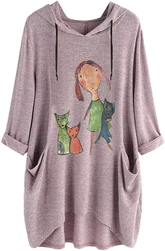 Auifor de las Mujeres del oído del Gato Manga Larga Ocasional de la impresión Sudadera con Capucha suéter Superior
