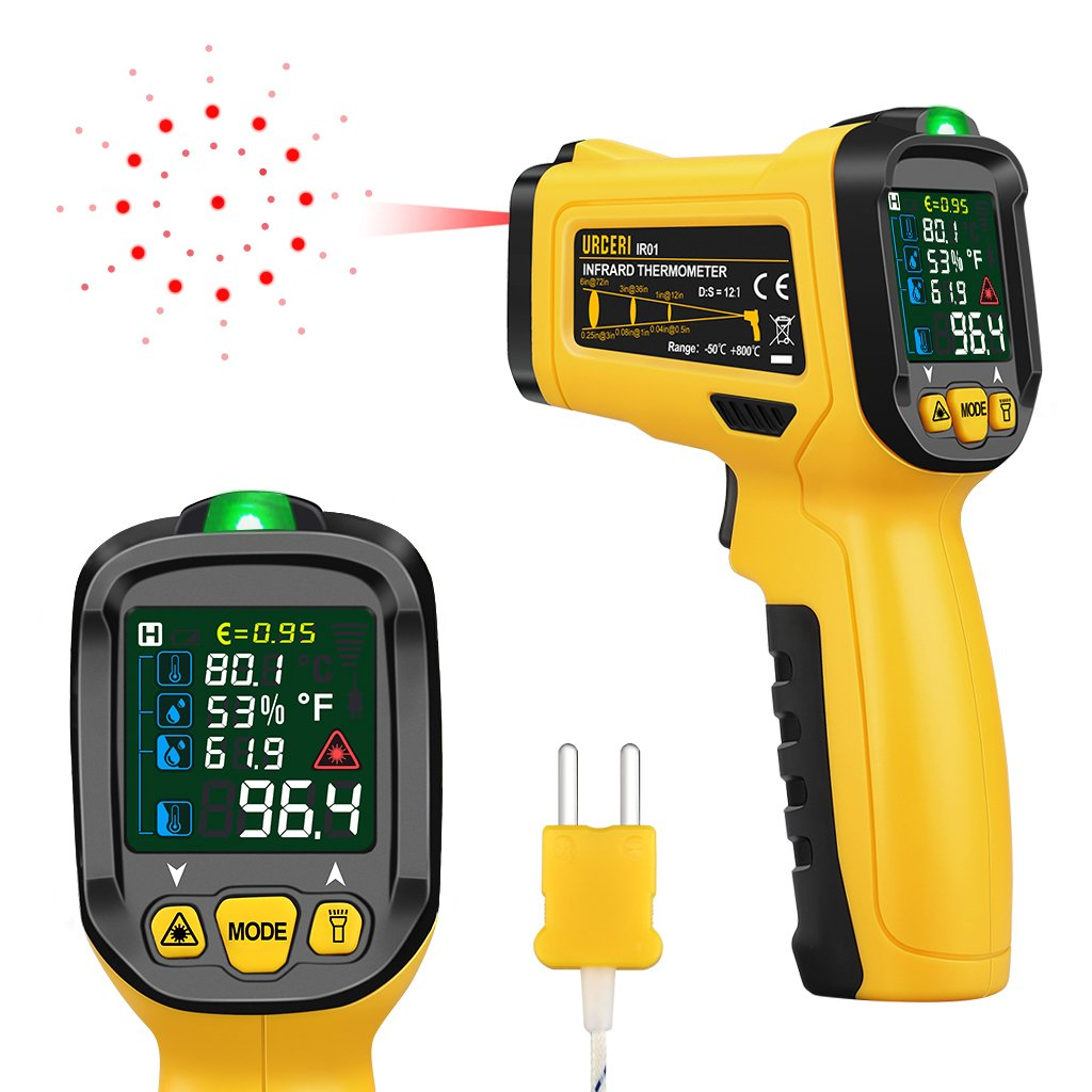 Amazon URCERI Infrared Thermometer Digital IR Laser Non Contact Temperature Gun 58 To 1472 Range With K Type Thermocouple UV Leak Detector Ambient