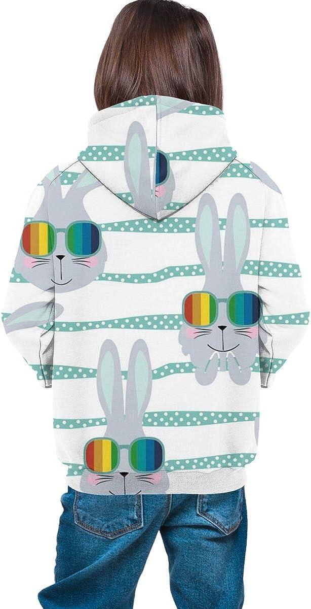 Kawaii Rabbit Unisex Pullover Teens Hoodie Hooded Sweatshirt Colorful
