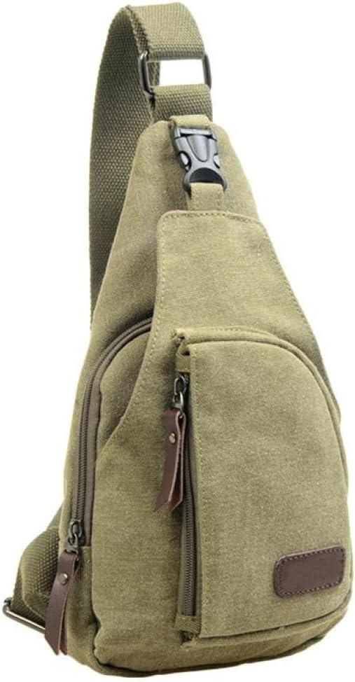 C Auwer Cool Outdoor Sports Casual Canvas Unbalance Backpack Crossbody Sling Bag Shoulder Bag Chest Bag for Men