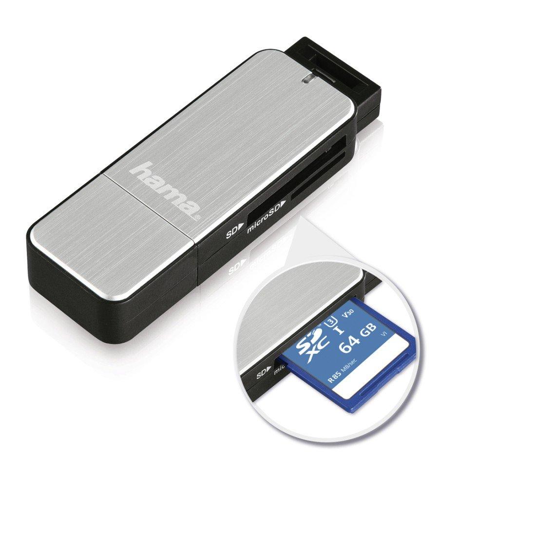Hama SD, MicroSD, USB 3.0 Lector de tarjetas externo color rojo