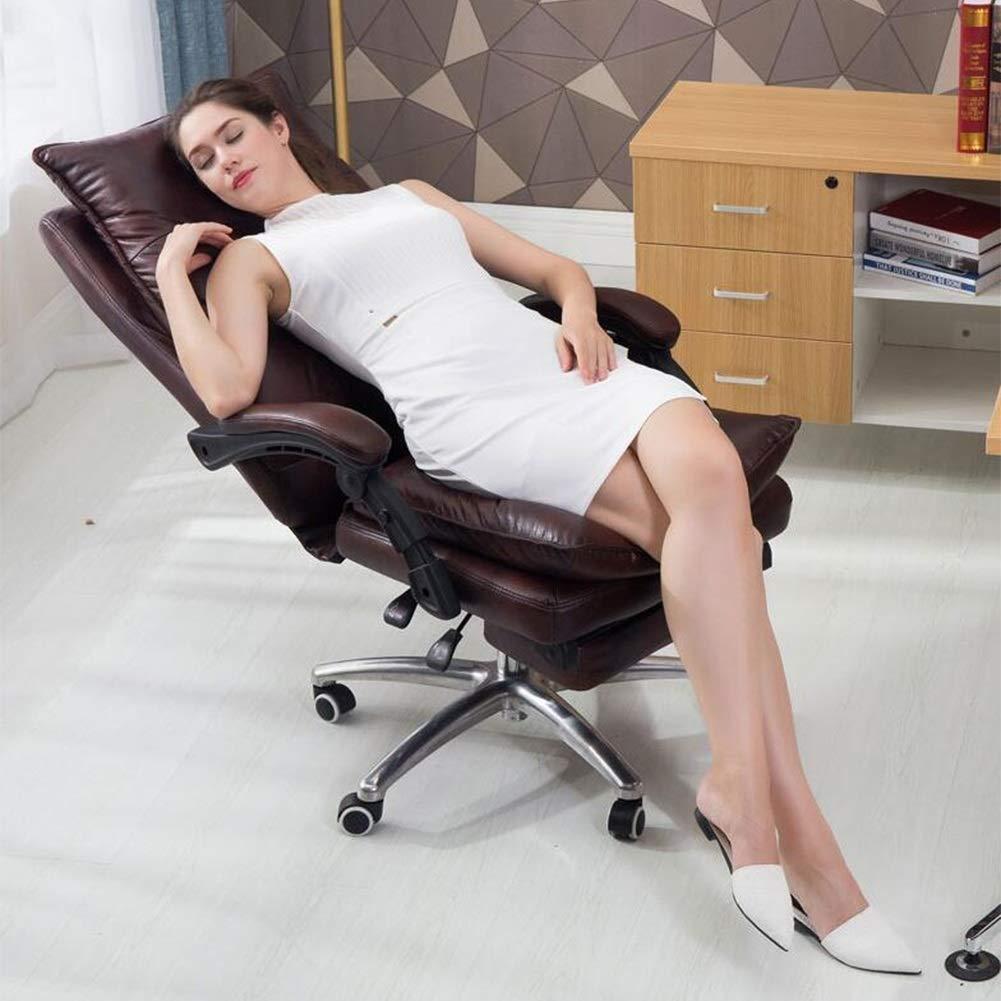 Executive Recline stolar kontorsspel, läder vilstol lutning tupplur med fotstöd höjd justerbar svängbar skrivbord dator stol vadderad kontorsstol Brun Brun