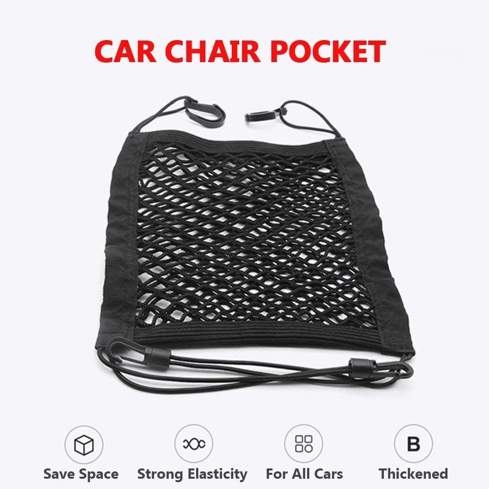 MagiqueW Car Seat Storage Mesh//Organizer 2 Lays Back Seat Elastic Cargo String Net Pouch Holder for Bag Luggage Pets Kids Barrier Disturb Stopper
