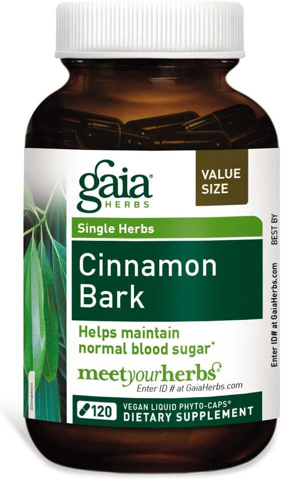 Gaia Herbs Cinnamon Bark, Vegan Liquid Capsules, 120 Count – Glycemic Balance Normal Blood Sugar Support, Organic Cinnamon