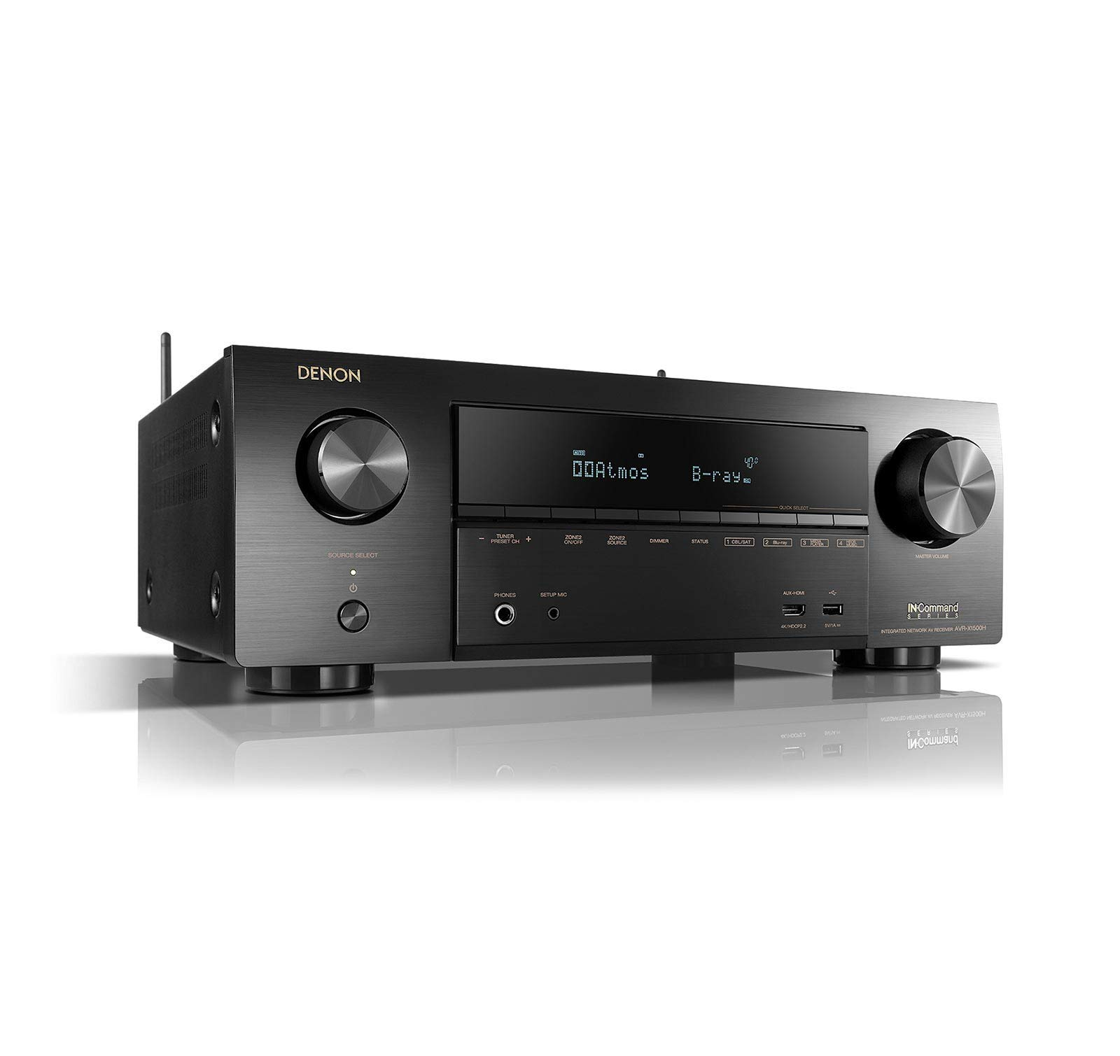 Denon AVR-X1500 Receiver 4K Ultra HD Video Home Theater Dolby Surround Sound (Renewed) by Denon