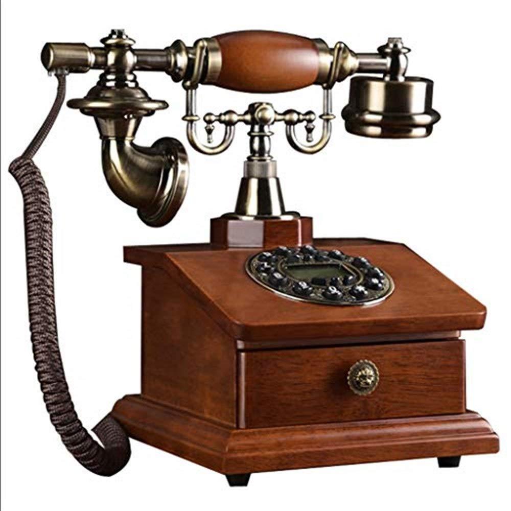 固定電話 ヨーロッパレトロロータリー電話ファッションクリエイティブアンティークソリッドウッド電話ホームワイヤレス固定電話オフィス電話 固定電話 B07QLL61BQ