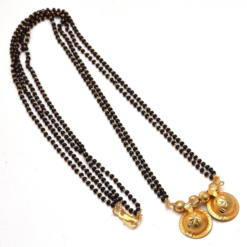 Mangalsutra South Indian katori Religious Kundan Ad Gemstones Fine Gold Finish Simply Look Jewelry 7617 Na