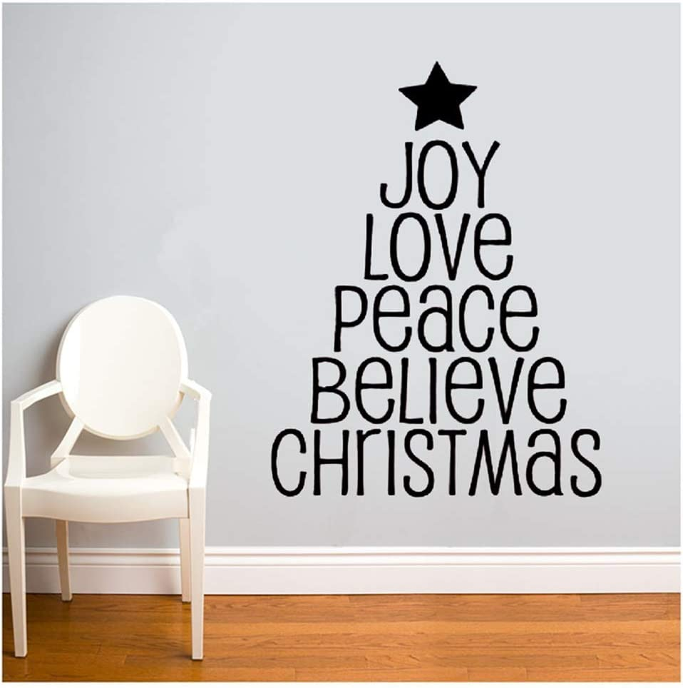 Kodioe Decals Wall Stickers Sayings Lettering Room Home Wall Decor Mural Art Joy Love Peace Believe Chritmas for Living Room