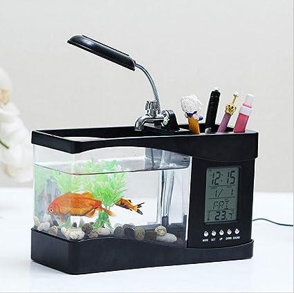 an-lkyiqi Moda Regalos creativos Escritorio Mini Original Eco Bombilla LED LCD Alarma Reloj Filtro
