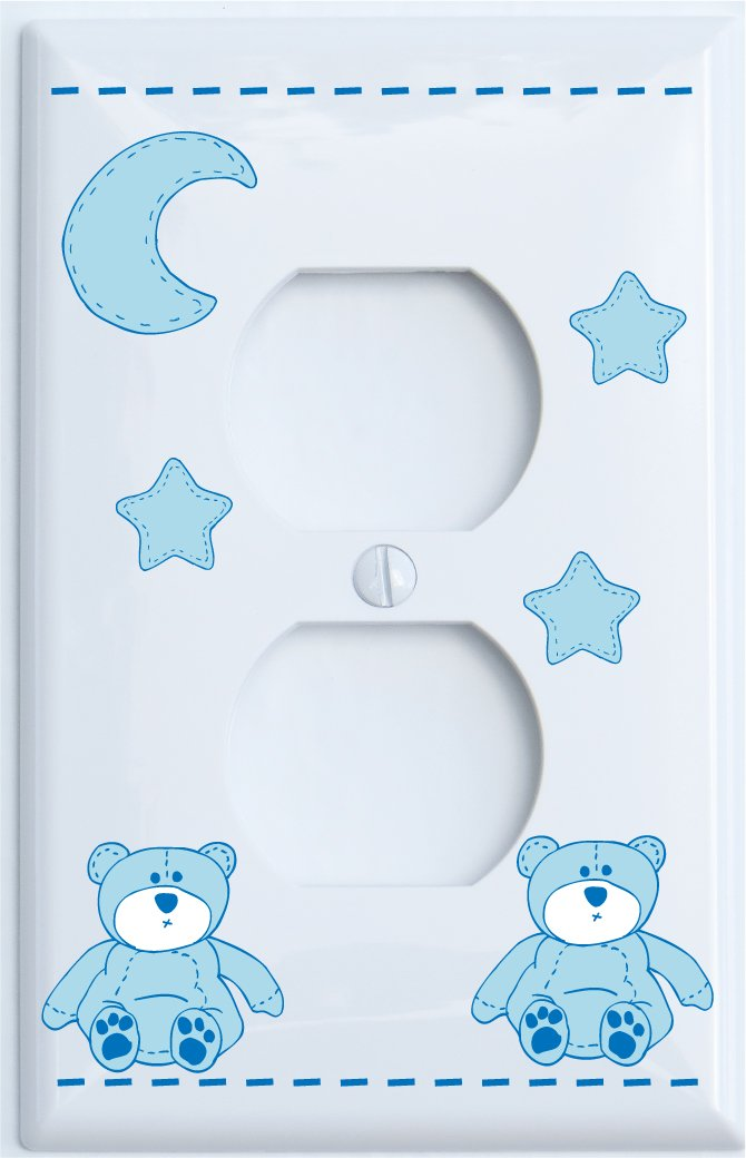 Blue Teddy Bear Light Switch Plate Single Toggle with Blue Moon and Stars / Teddy Bear Nursery Decor (Single Toggle) Presto Chango Decor inc