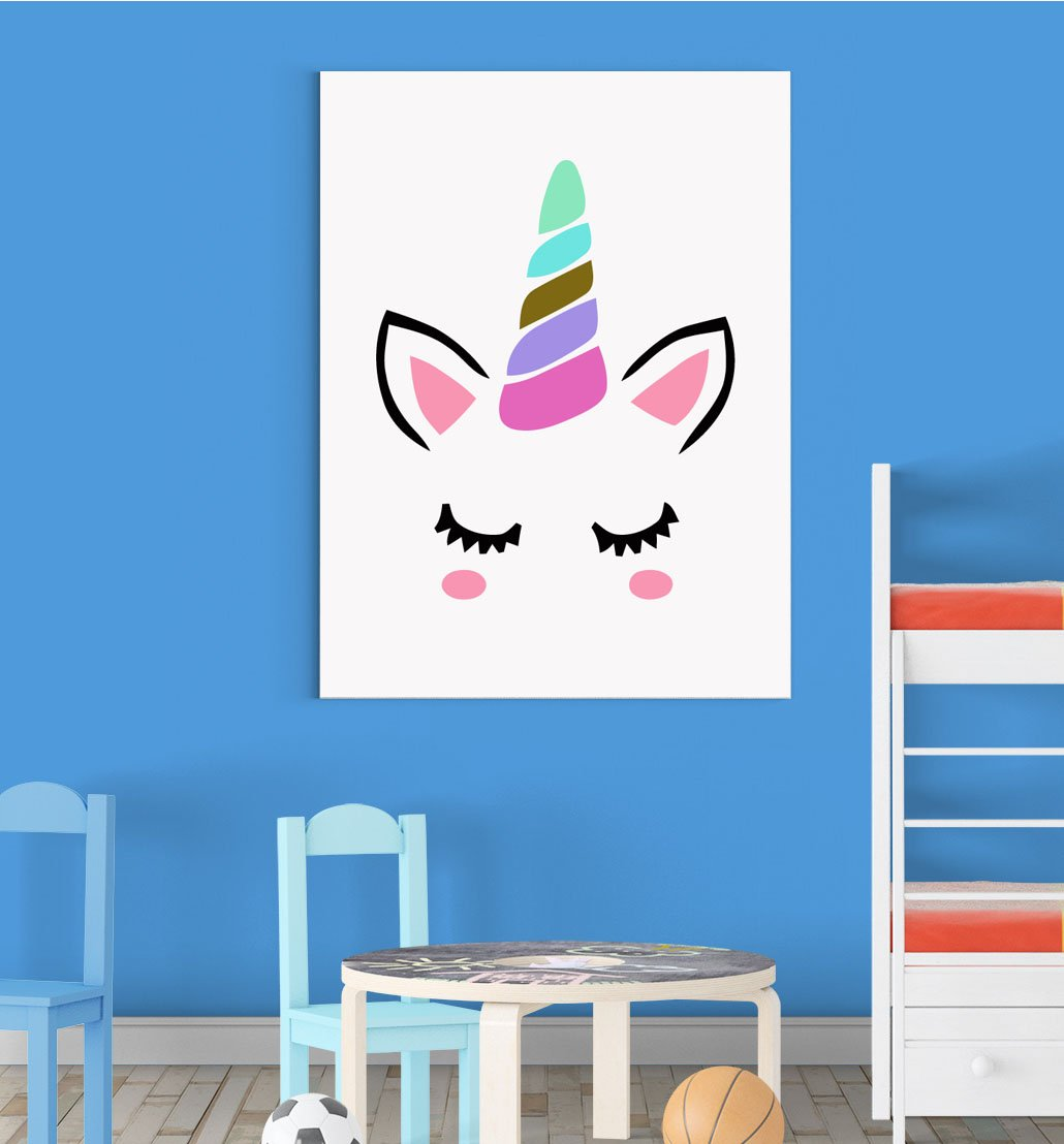Magical Mystical Unicorn Blushing Nursery Wall Decor Art Poster Print Inspired Walls®