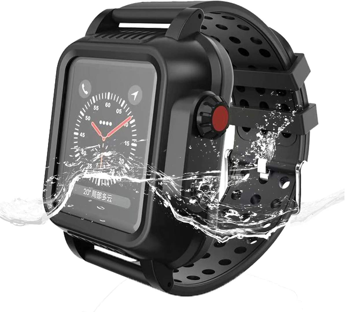 Waterproof Case for Apple Watch 42mm Series 3 2 Built-in Screen Protector Full Body Rugged iWatch 3 Protective Case with Band Anti-Scratch Drop Shock Swim Proof Apple Watch Case