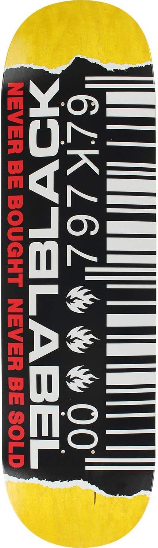Bundle of 2 Items 8.5 x 32.38 with Black Magic Black Griptape Black Label Skateboards Ripped Barcode Assorted Color Skateboard Deck