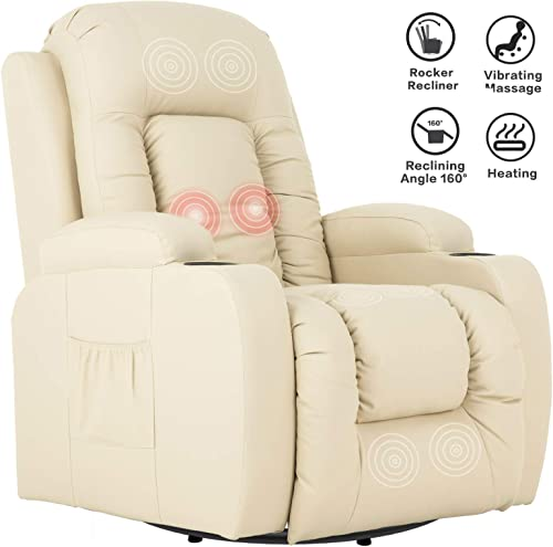 Mecor Massage Recliner Chair PU Leather Rocker with Heat 360 Degree Swivel Single Sofa Seat Ergonomic Lounge with Cup Holders Side Pockets Remote Control for Living Room Beige