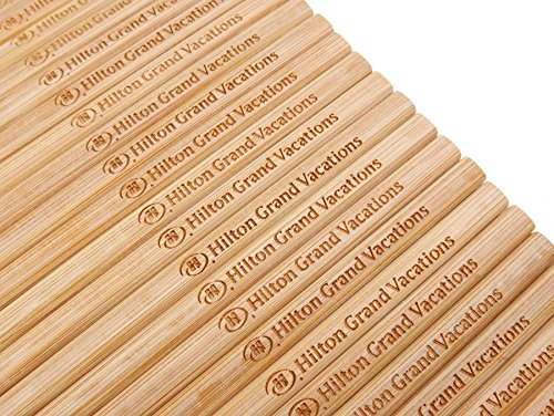 50 Pairs 10 Inch Natural Bamboo Chinese Chopsticks Engraved with Custom Logo - Choice of Corporation Buyers - Wholesale Washable High Quality Bamboo Chopsticks in Bulk for Wedding or Business Function by STONE&WOOD (Image #2)