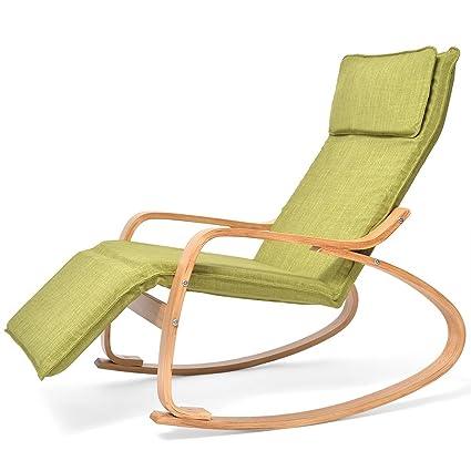 Green Comfortable Rocker Wooden Relax Silla Mecedora ...