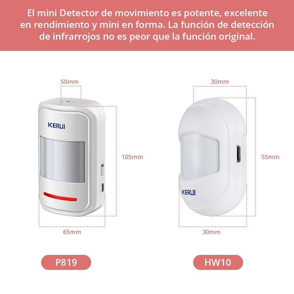 Compatible con KERUI Sistema Alarma Seguridad gsm//WiFi para Hogar//Tienda//Garaje//Oficina//Autocaravana Kit Alarma Antirrobo KERUI MC7 Mini Sensor Puerta y Ventana Inal/ámbricos Sensor Movimiento 433M